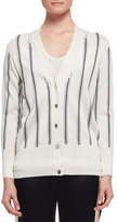 Lanvin Vertical-Stripe V-Neck Cardigan, White/Black