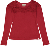 Lucky Brand Red Dahlia Big Rib Lace Tee - Girls