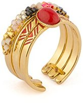 """Satellite Women's """"Kuzco"""" Gold Plated Brass Multicolour Beads Triangle Lines Cocktail A Set of 3 Open Ring Size - R"""