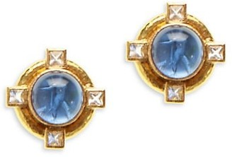 Elizabeth Locke Venetian Glass Intaglio Cabachon 19K Yellow Gold & Moonstone 'Putto & Duck' Earrings