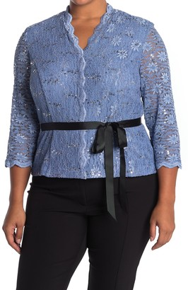 Alex Evenings Illusion Lace Quarter Sleeve Belted Blouse