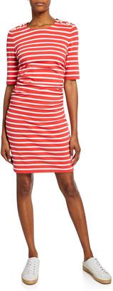 Veronica Beard Foley Striped Lace-up Dress