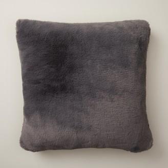 "Oui Faux-Fur Pillow Cover Lead Grey 18"" X 18"""