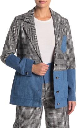 KENDALL + KYLIE Plaid & Denim Notch Collar Blazer