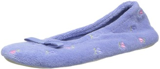 Isotoner Women's Signature Terry Floral Embroidered Ballerina Slipper