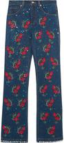 Ashish Voyage Embellished Embroidered Mid-rise Straight-leg Jeans - Dark denim