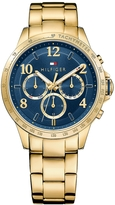 Tommy Hilfiger Gold Bracelet Watch With Blue Face