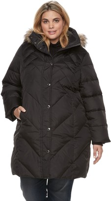 London Fog Plus Size TOWER by Quilted Faux Fur Trim Coat