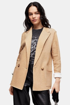 Topshop Tan Raw Edge Jersey Double Breasted Blazer