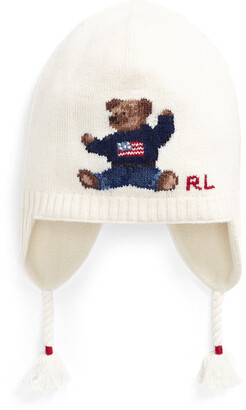 Ralph Lauren Flag Bear Wool-Blend Earflap Hat