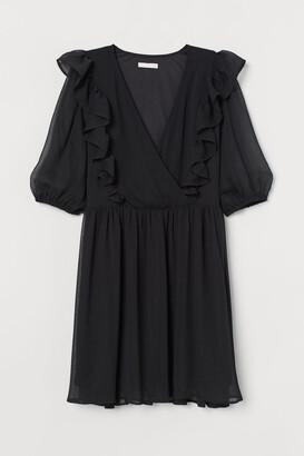 H&M Ruffle-trimmed Dress - Black