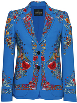 Roberto Cavalli Floral Embroidered Stretch Cady Blazer