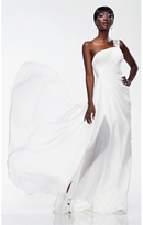 Theia 881075 Draped One Shoulder Silk Long Dress