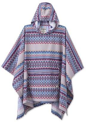Kavu Women's Ponchos Old - Purple & White Old School Geometric Stripe Hooded Poncho - Women