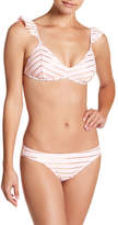 Betsey Johnson Shimmer Stripe Bikini Top