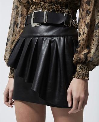 The Kooples Black short imitation leather skirt w/frills
