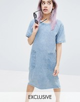 Monki Acid Wash Freyed Hem Dress
