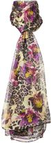 Biba Silk chiffon leopard floral scarf