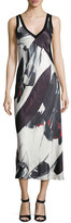 DKNY Sleeveless Printed V-Neck Midi Dress, Black/White
