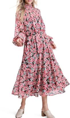 En Saison Long Sleeve Floral Midi Dress
