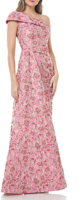 Carmen Marc Valvo One-Shoulder Floral Brocade Side-Drape Gown