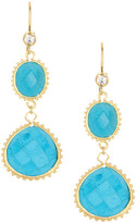Rivka Friedman 18K Gold Clad Magnesite Double Dangle Simulated Diamond Hook Earrings