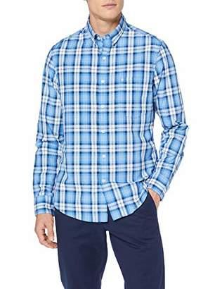 Izod Men's Breeze POPLIN Plaid BD Shirt Casual (Blue Revival 464), M