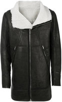 Rick Owens fur lined leather coat