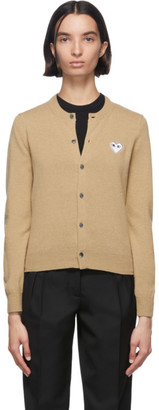 Comme des Garcons Tan Heart Patch Cardigan
