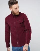 Lee Slim Cord Western Shirt Maroon