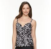 Croft & Barrow Women's Push-Up Leopard Tankini Top