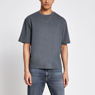 River Island Grey pocket front boxy fit T-shirt