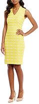 Kasper Petite V-Neck Textured Jacquard Sheath Dress