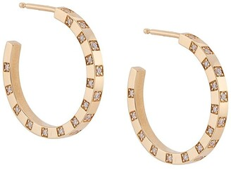 Azlee 18kt yellow gold Scattered diamond hoops