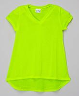 Erge Neon Yellow Hi-Low V-Neck Tee - Girls