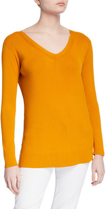 Lafayette 148 New York Wide V-Neck Long-Sleeve Matte Crepe Sweater