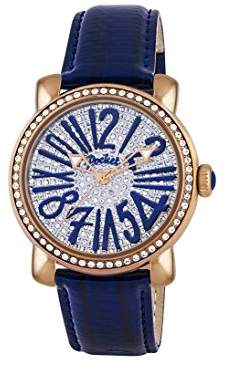 Pocket Rond Pave Medio Women's Quartz Watch with Silver Dial Analogue Display and Blue Leather Strap PK2030