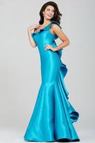 Jovani Sleek Asymmetrical Ruffled Mermaid Satin Gown 34068
