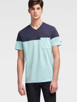DKNY Color Block V-neck Tee