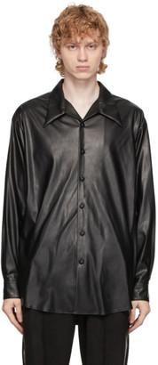 SASQUATCHfabrix. Black Faux-Leather Open Collar Shirt
