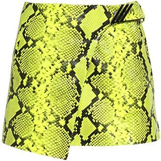 ATTICO Python Print Leather Wrap Mini Skirt