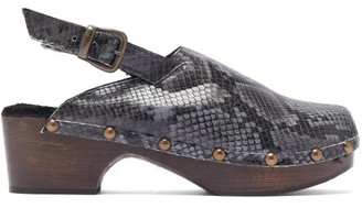 Avec Modération Ruka Snake-effect Leather And Shearling Clogs - Dark Grey