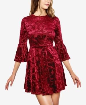 B. Darlin Juniors' Velvet Bell-Sleeve A-Line Dress