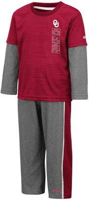 Colosseum Youth Crimson/Heathered Gray Oklahoma Sooners Bayharts Long Sleeve T-Shirt and Pants Set