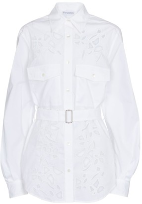 J.W.Anderson Belted cutout cotton poplin shirt