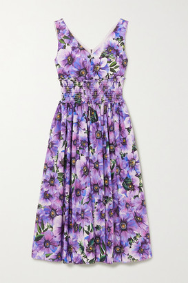 Dolce & Gabbana Shirred Floral-print Cotton-poplin Midi Dress - Purple