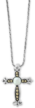 """Effy Cultured Freshwater Pearl (6mm) Cross 18"""" Pendant Necklace in Sterling Silver & 18k Gold"""