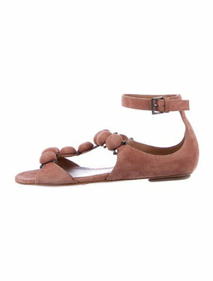 Alaia Suede Studded Accents Gladiator Sandals Pink