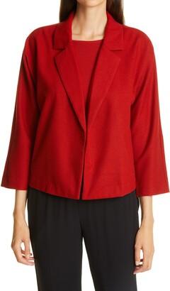 Eileen Fisher Notch Lapel Soft Wool Flannel Jacket