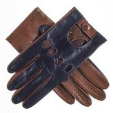 Black Navy and Tobacco Italian Leather Driving Gloves
